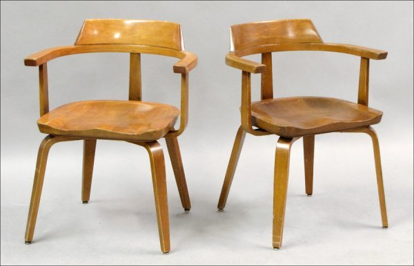 821019: SET OF SIX ART DECO STYLE MAPLE ARMCHAIRS.