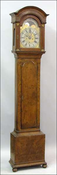 821020: 18TH CENTURY DUTCH INLAID MAHOGANY TALL CASE CL