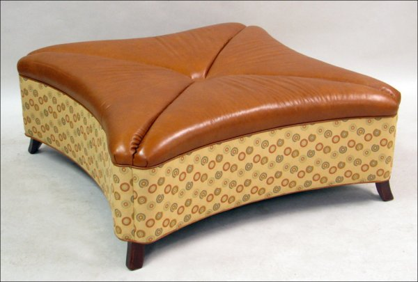 821023: LEATHERCRAFT OVERSIZED CLOVER SHAPED OTTOMAN.