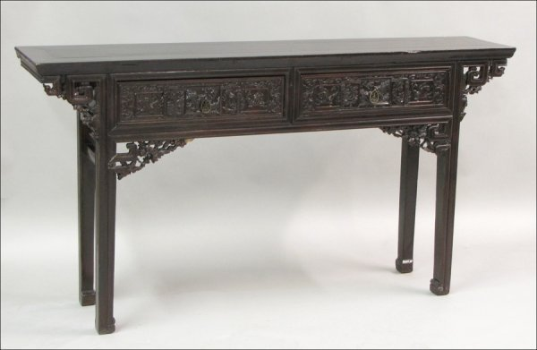 831001: ASIAN CARVED MAHOGANY CONSOLE TABLE.