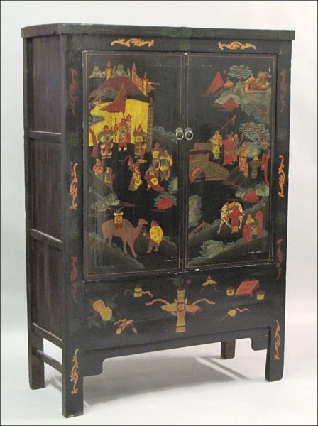 831004: CHINESE LACQUER AND POLYCHROME DECORATED ARMOIR