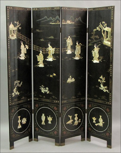 831007: ASIAN MOTHER-OF-PEARL AND IVORY INLAID FOUR-PAN