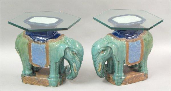 831008: PAIR OF GLAZED CERAMIC ELEPHANT-FORM TABLE BASE