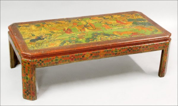 831011: CHINESE LACQUER AND POLYCHROME DECORATED ELMWOO