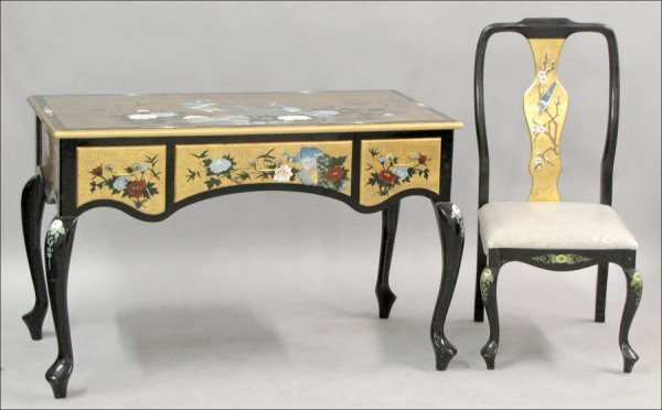 831012: CHINESE PAINTED AND PARCEL-GILT WRITING DESK AN