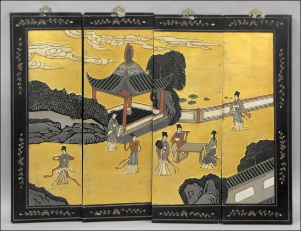 831013: CHINESE PAINTED FOUR-PANEL SCREEN.