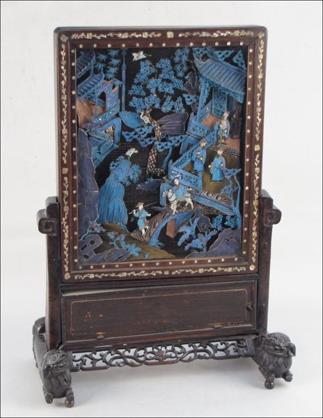 833236: CHINESE KINGFISHER FEATHER TABLE SCREEN.