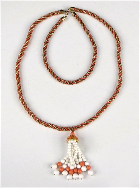 837001: LANVIN FAUX CORAL AND ROPE TWIST NECKLACE AND T
