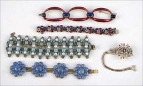 837019 CINER BLUE AND MAGENTA ENAMEL LINK BRACELET
