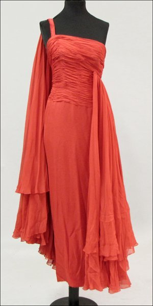 839018: RED SILK CHIFFON GOWN.
