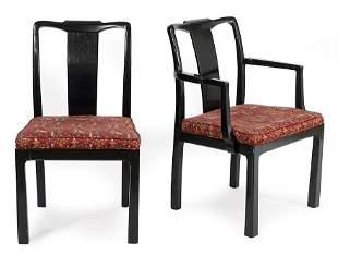 A Set of Six Ebonized Wood Dining Chairs.