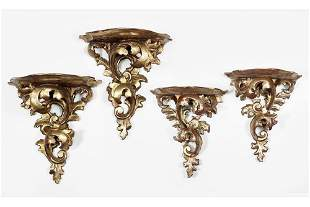 Two Pairs of Gilt Wood Wall Brackets.