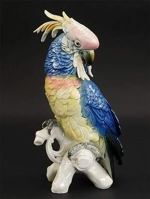 A Karl ENS Germany Porcelain Parrot.
