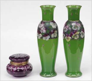 A Pair of Enameled Green Opaline Vases.