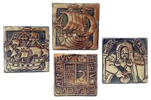 A Set of Four Mercer Moravian Glazed Terra Cotta Tiles.