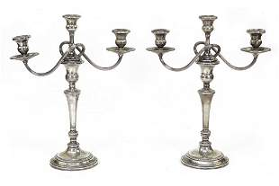 A Pair of Weighted Sterling Silver Candelabra.