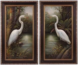 C. Walter (American, Contemporary) Egrets.