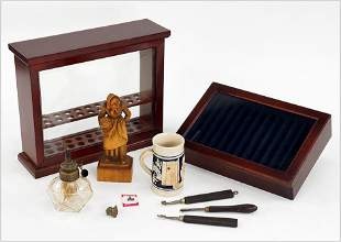 Two Wood Pen Displays and Other Decorative Items.