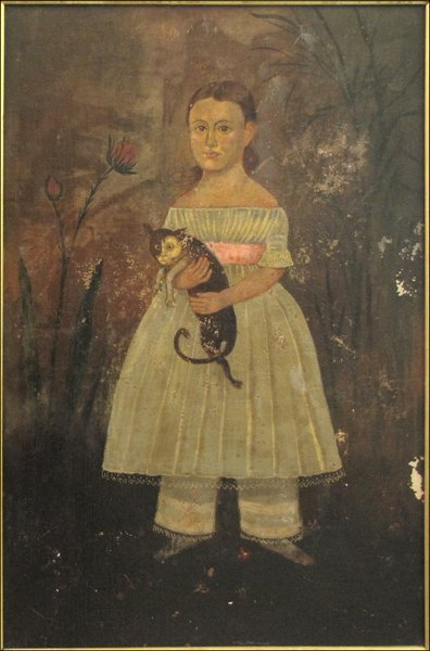 846123: ARTIST UNKNOWN (19TH CENTURY) GIRL WITH A CAT.