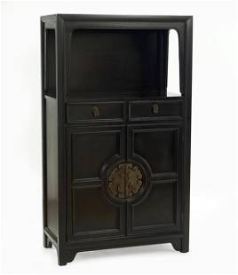 A Century Ebonized Wood Bar Cabinet.