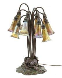 A Tiffany Studios Ten-Light Lily Lamp.