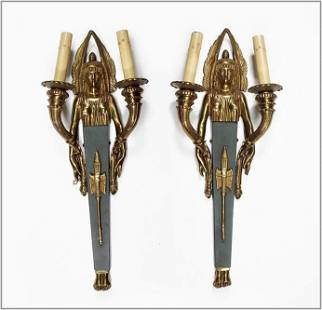 A Pair of Egyptian Revival Style Two-Light Wall