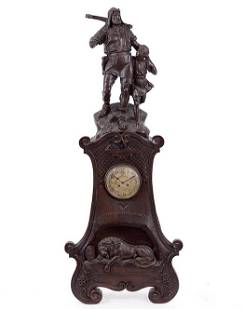A Swiss Carved Wood Wilhelm Tell Case Clock.
