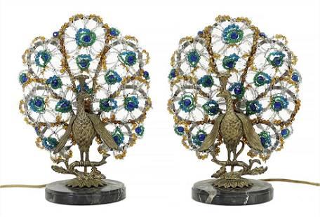 A Pair of Art Deco Czech Glass Peacock Lamps.