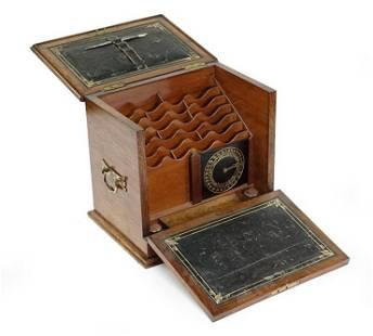 An English Victorian Walnut Letter Box.