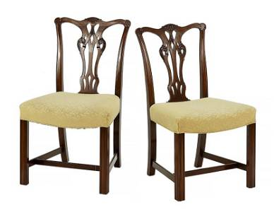A Set of Three Chippendale Style Mahogany Side Chairs.