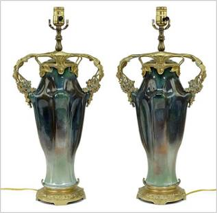 A Pair of French Art Nouveau Table Lamps.