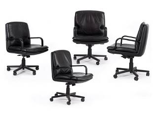 A Set of Four Geiger Black Leather Desk Chairs.