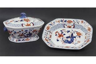 A Chinese Export Imari Porcelain Tureen and Platter.