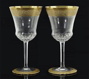 A Pair of St. Louis Gilt Crystal Water Goblets.
