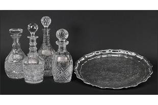 A Collection of Crystal Decanters.