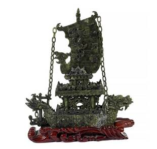 A Chinese Carved Jade Dragon Boat.