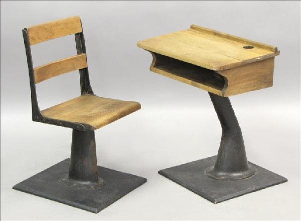 851005: MAPLE AND CAST IRON SCHOOLHOUSE DESK AND CHAIR.