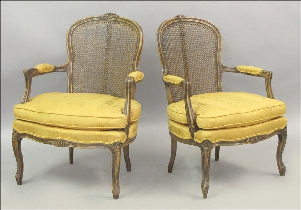 851012: PAIR OF LOUIS XIV STYLE CANED FAUTEUIL.