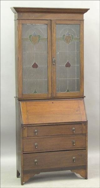 851016: 19TH CENTURY CHERRY SECRETAIRE BOOKCASE.
