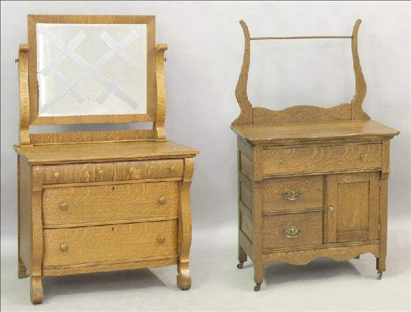 851018: EMPIRE STYLE OAK MIRRORED DRESSER.