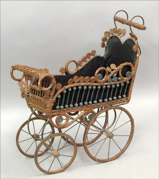 851019: WICKER BABY BUGGY.