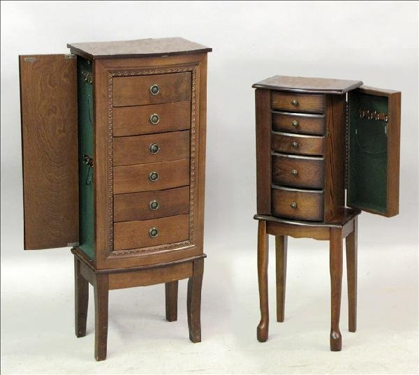 851020: TWO CONTEMPORARY MAHOGANY JEWELRY CABINETS.