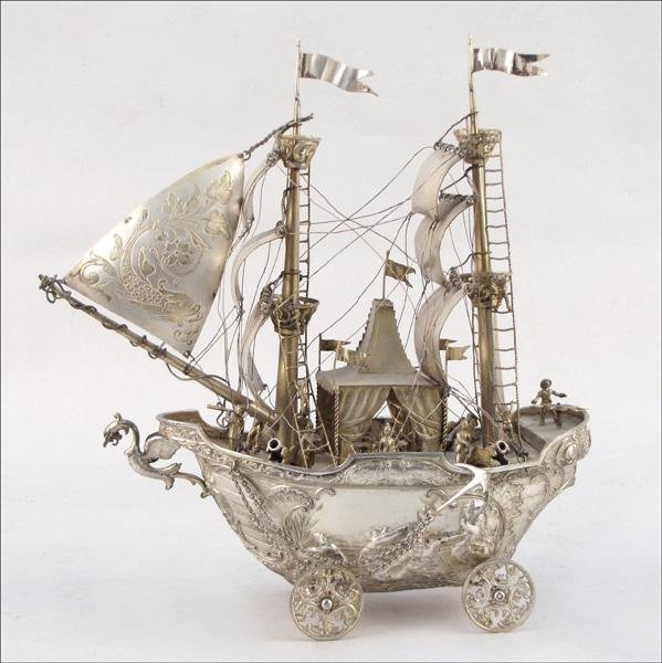 854030: 19TH CENTURY DUTCH SILVER PRESENTATION SHIP / N
