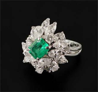 A Synthetic Emerald & Diamond Ring.