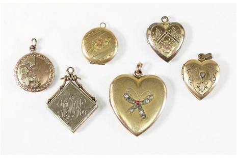 A Collection of Victorian Goldfilled Lockets.