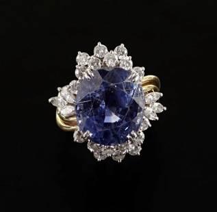 A Sapphire & Diamond Ring.