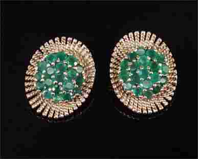 A Pair of Emerald Earclips.