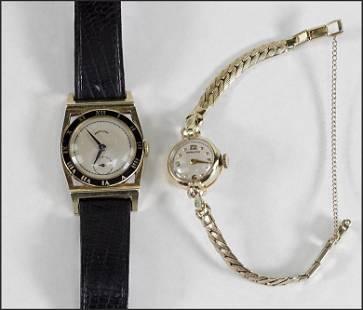 Two Hamilton 14 Karat Yellow Gold Watches.