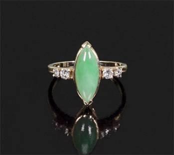 A Jade & Diamond Ring.