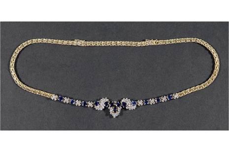 A Sapphire & Diamond Necklace.